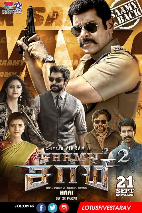 Saamy 2 Square (2018) Dual Audio [Tamil – Telugu] 720p HQ Pre-DVDRip 700MB Download